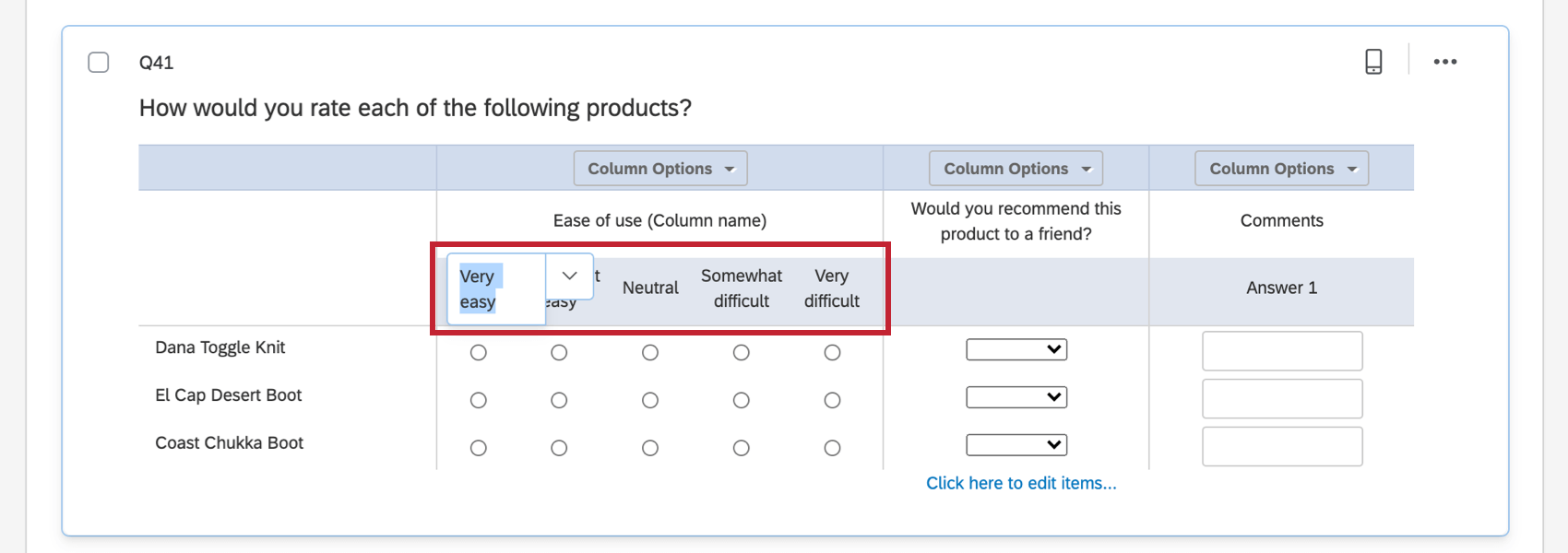 clicking on the text of choices in likert column to change their names