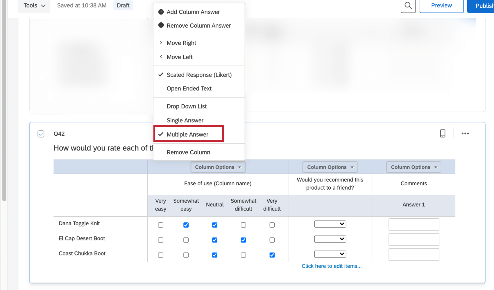 multiple answer option under the column options dropdown