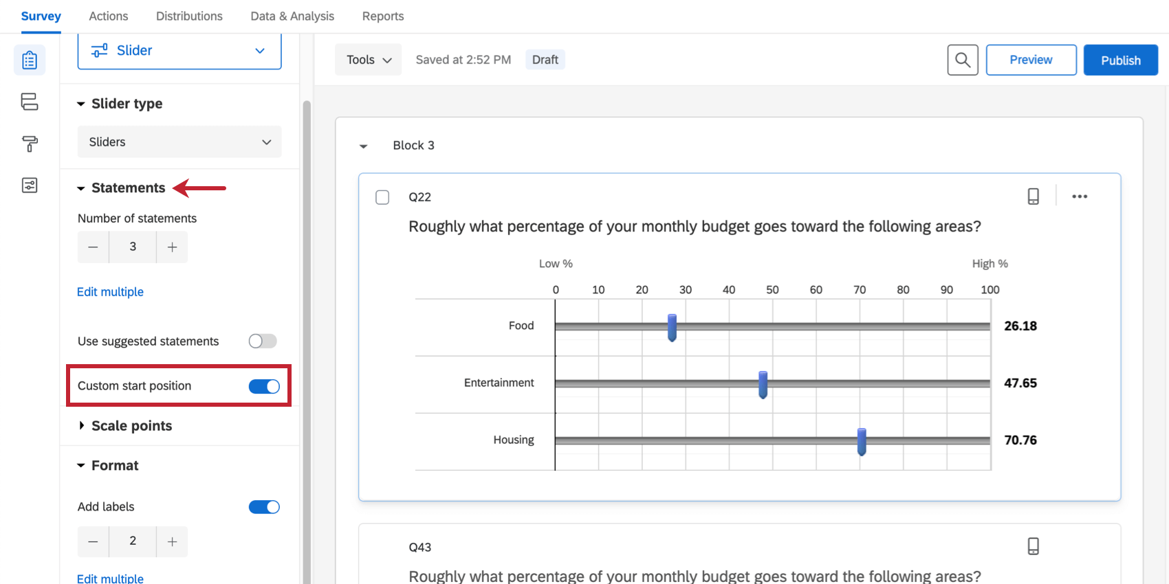 custom start position is selected in the question editing pane