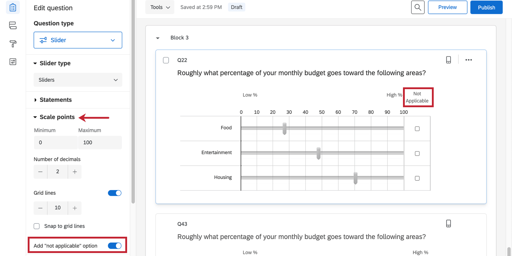 not applicable is selected, so a column show sup next to the sliders with a checkbox