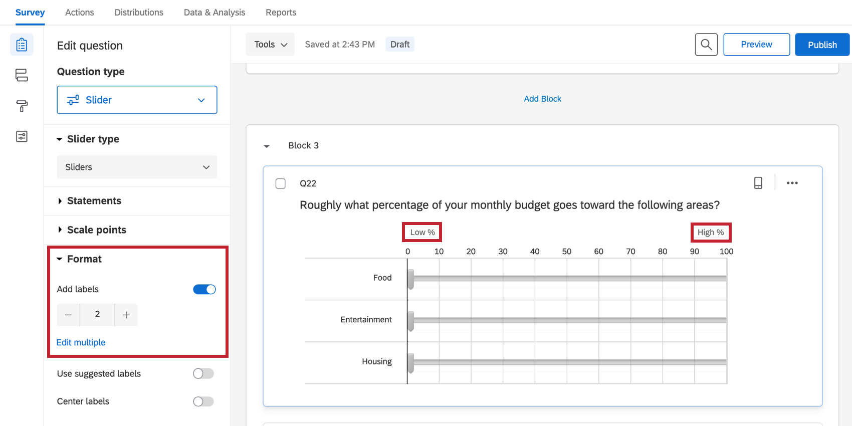 Labels is set to 2, so 2 labels appear over the slider bars, on either end