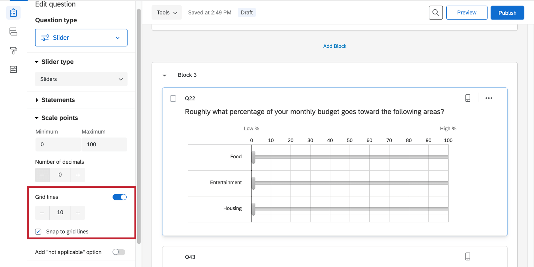 Snap to grid is selected, so sliders can never got between grid lines