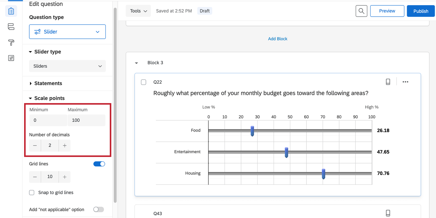 Min, max, and grid lines settings in the question editing pane