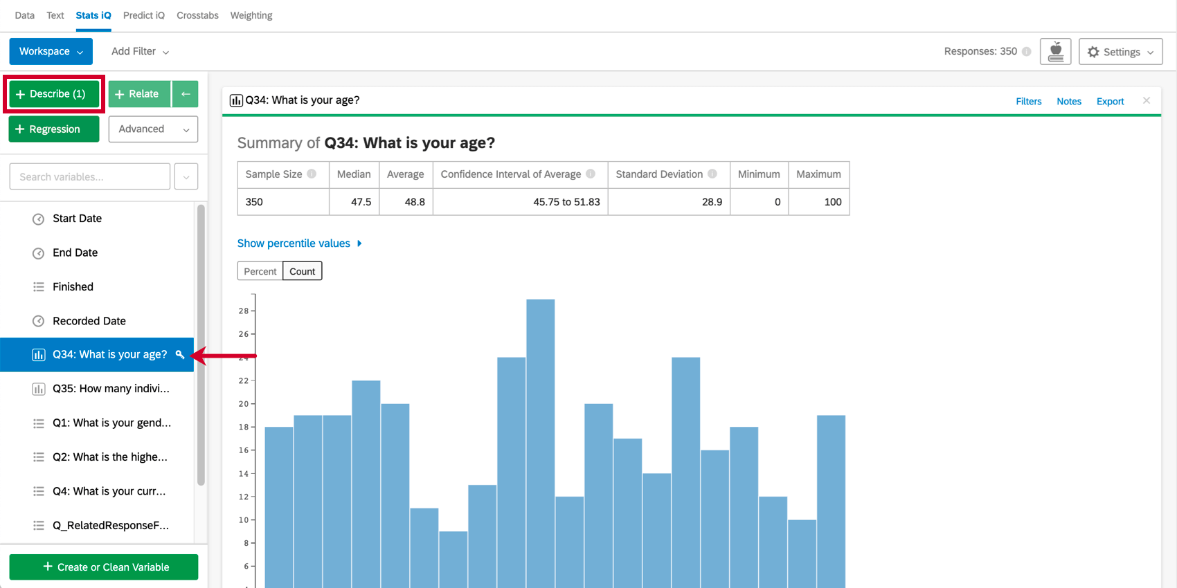 Left, describe button and age variable are selected. To right, a graph describing the the age variable, showing distribution for the data set
