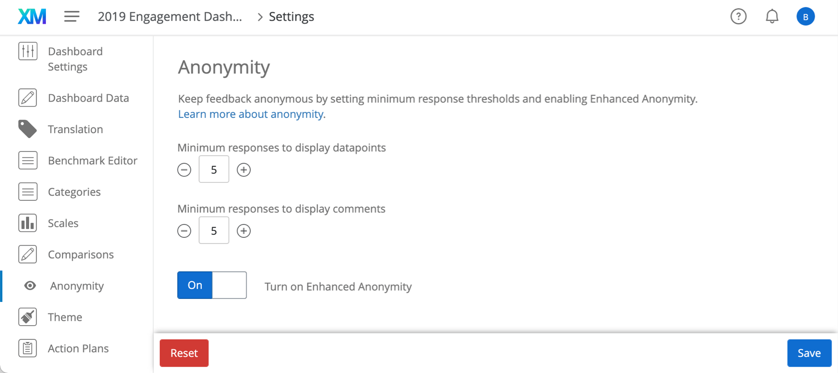 Anonymity section of dashboard settings