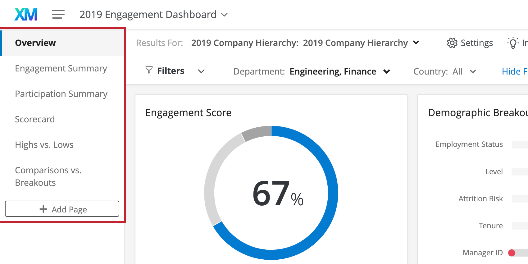 Pages listed in menu to left of a dashboard
