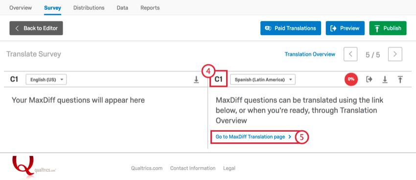 selecting question c1 and then go to maxdiff translation pagee