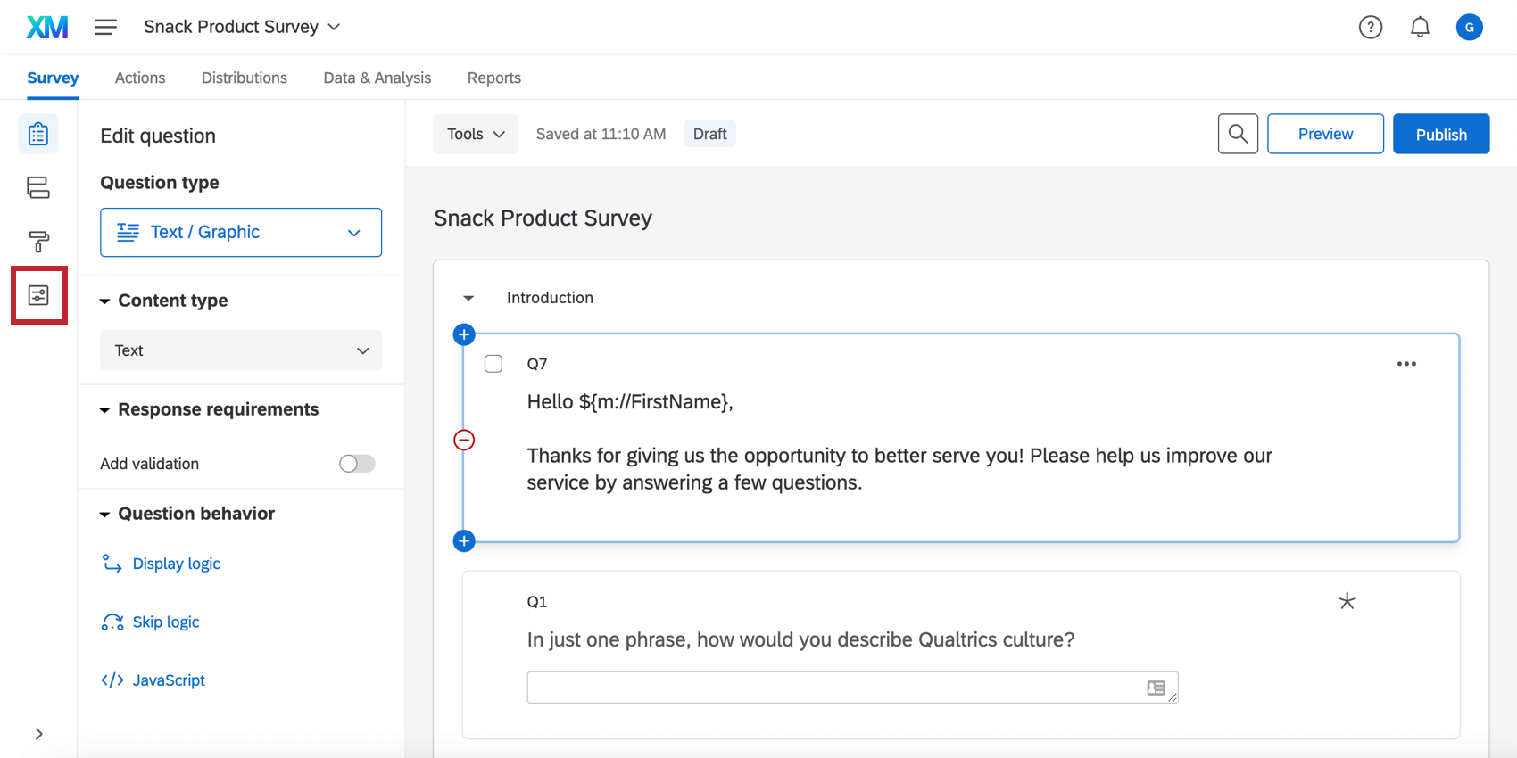 Survey options in the survey editor