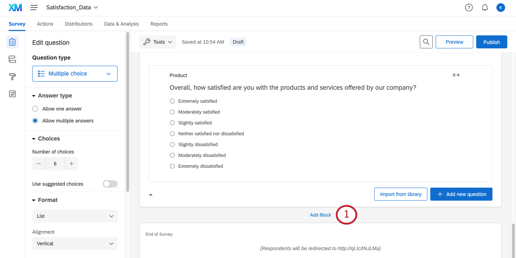 Bottom of a survey, before blue end of survey, blue add block link