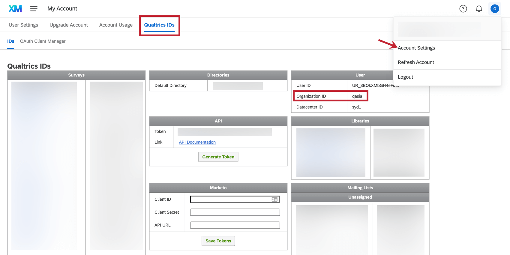 Finding the Organization ID in the Qualtrics IDs section of the Account Settings