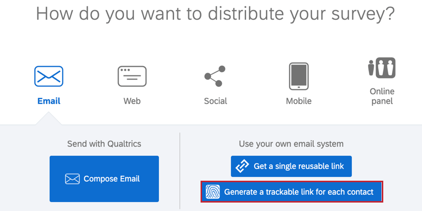the generate a trackable link option on the distributions page