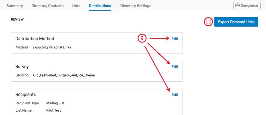 Image illustrant le bouton bleu Exporter les liens uniques en haut à droite