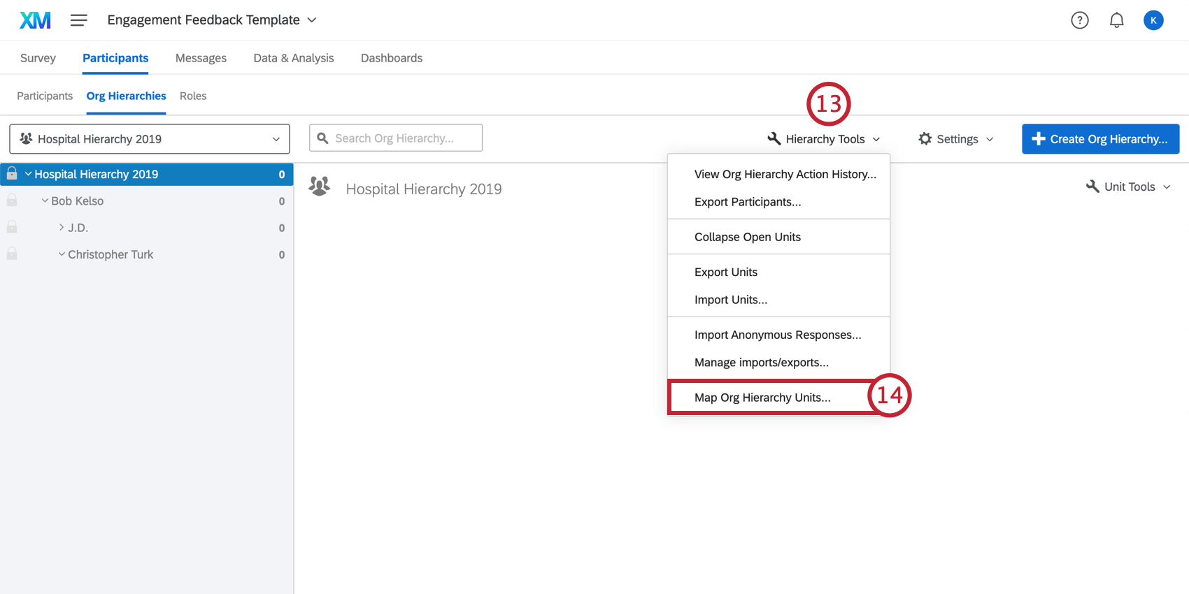 Opening the Hierarchy Tools drop down menu and selecting Map Org Hierarchy Units
