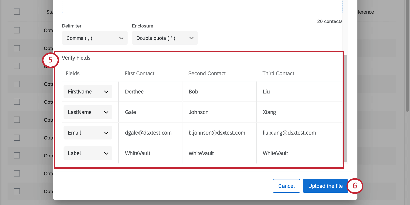 Verify Fields section featuring a preview of the uploaded contacts