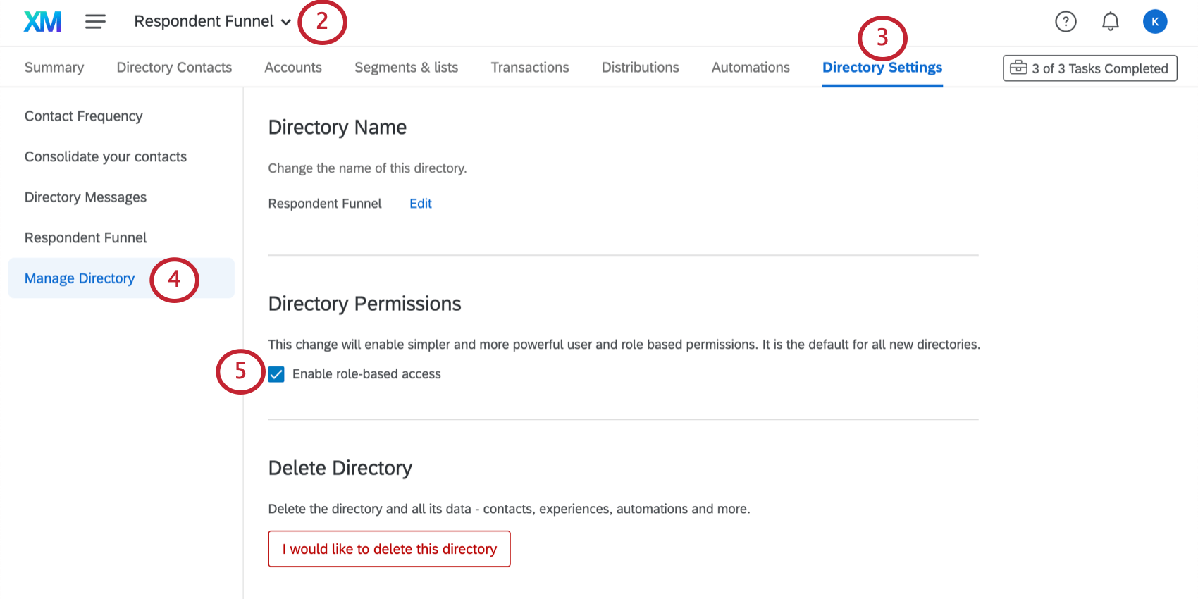 accessing directory roles by going to the manage directory settings
