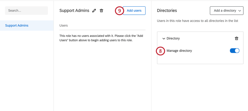 add permissions to the role on the right hand side. click add users in the middle of the screen to add users to the role