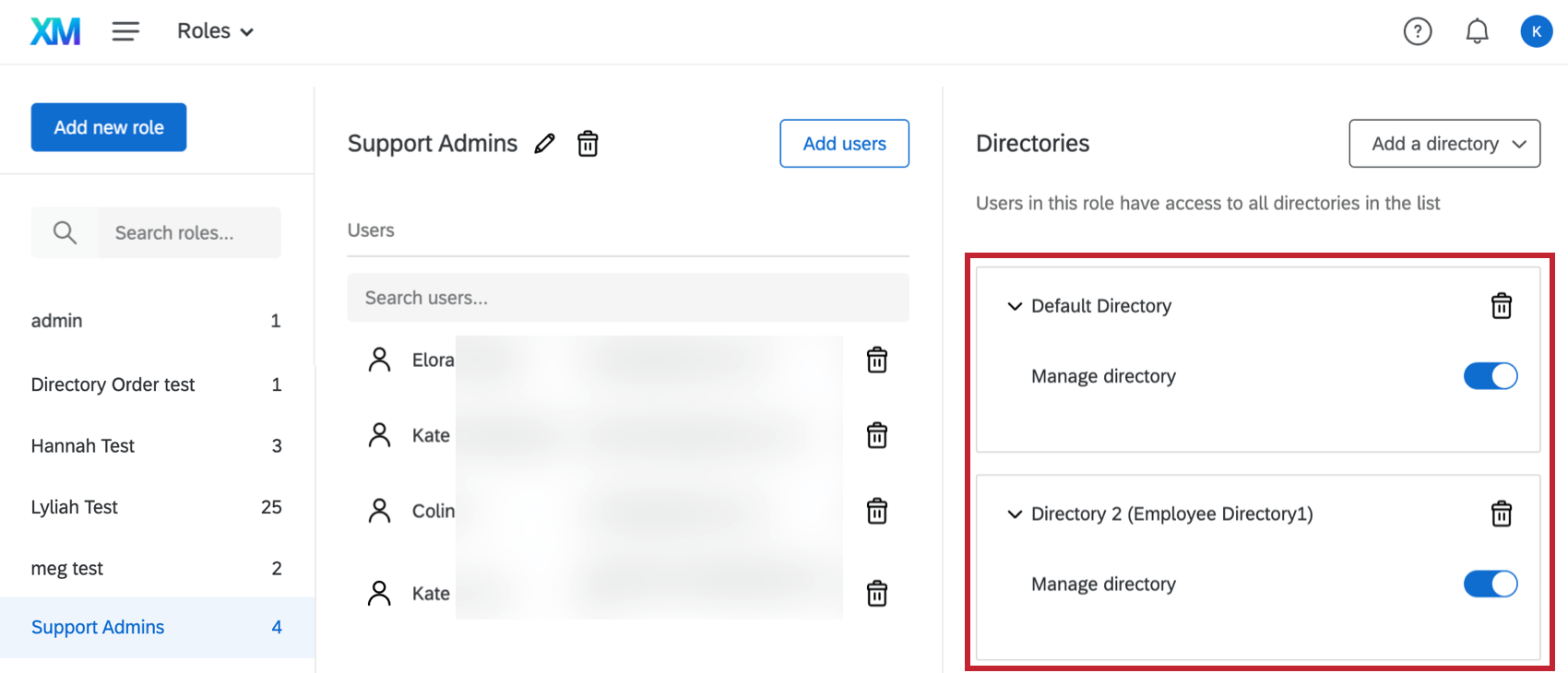 the role based permissions found when setting up xm directory roles