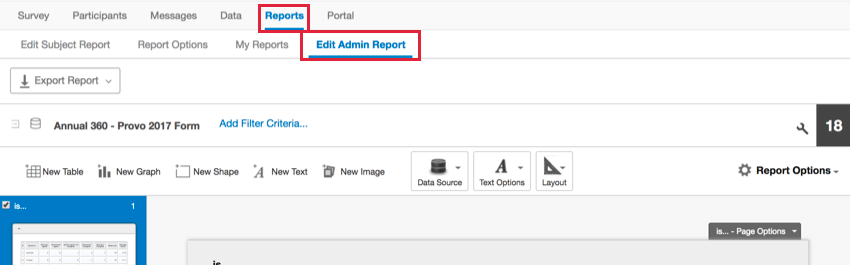 the edit admin report section of the reports tab