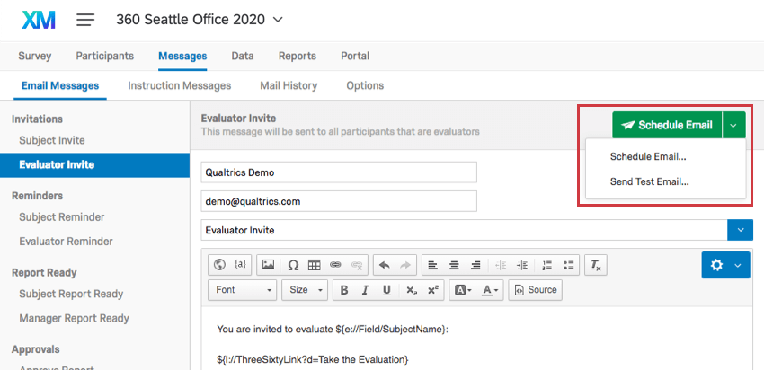 Schedule Email button in the upper right corner