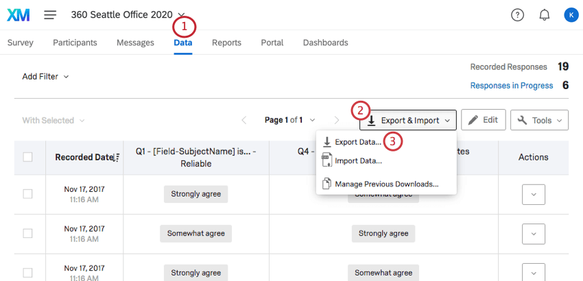 Expanding the Export and Import menu on the right side of the Data tab