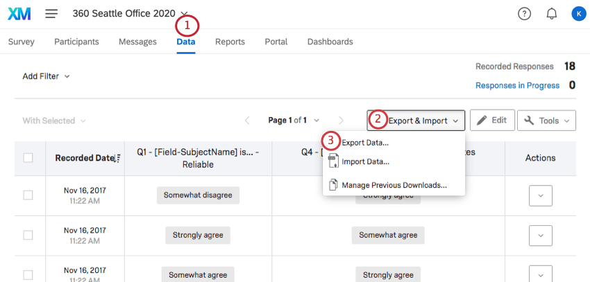 Export Data option within the Export & Import dropdown menu