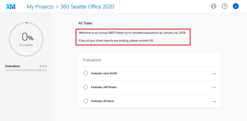 Evaluator welcome message displayed in the Participant Portal