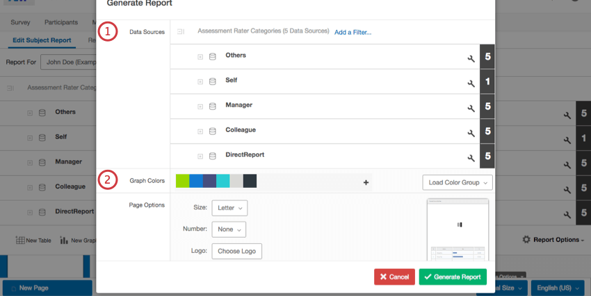 Generating a report from scratch in the Generate Report window