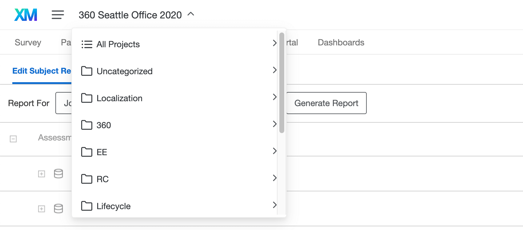 Selecting your report from the report dropdown selection menu in the upper-left corner