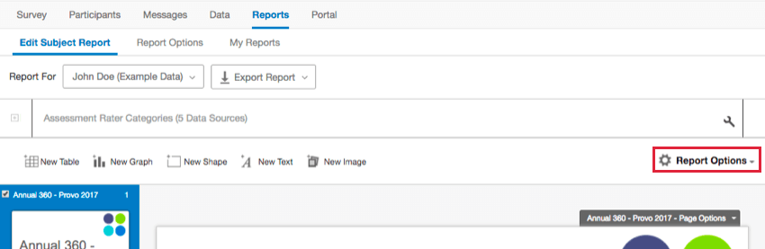 the 360 report options icon in the top right corner