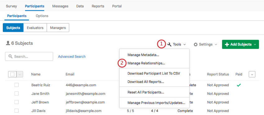 Manage Relationships option in the Tools dropdown menu