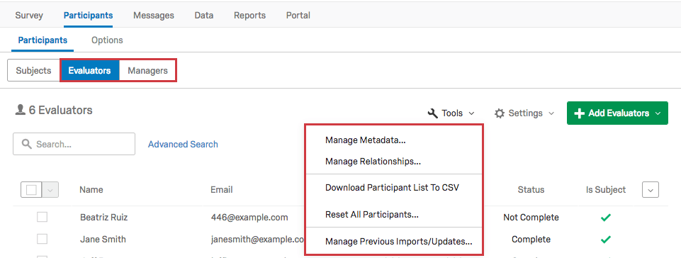 Download reports not available for Evaluators or Managers in the Tools menu