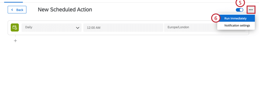 turning on the scheduled action and then selecting run immediately