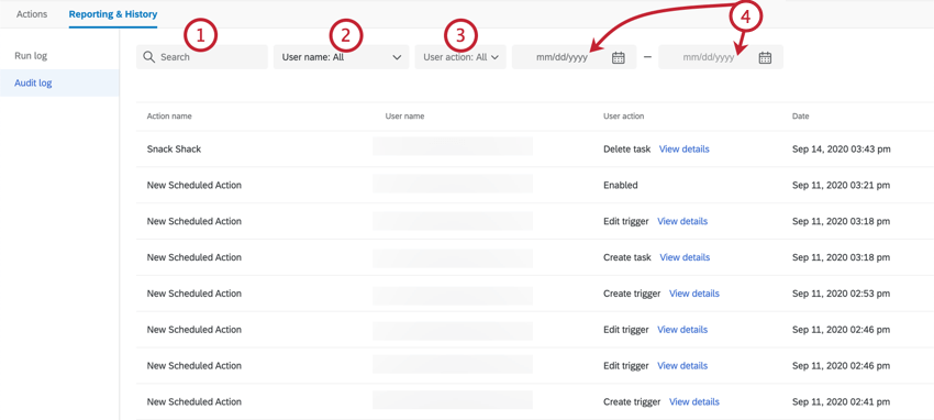 using the search fields at the top of the audit log
