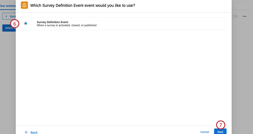 selecting survey definition event and clicking next