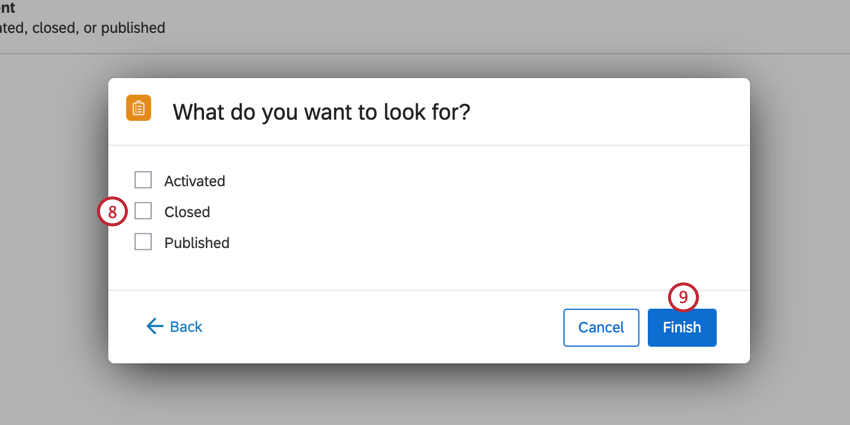 choosing the type of survey event to look for