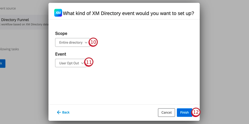 choosing the directory scope and event