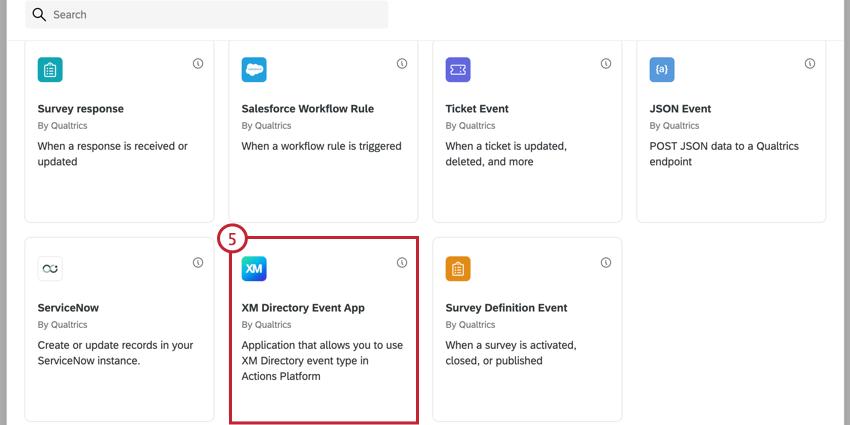 choosing the xm directory event app