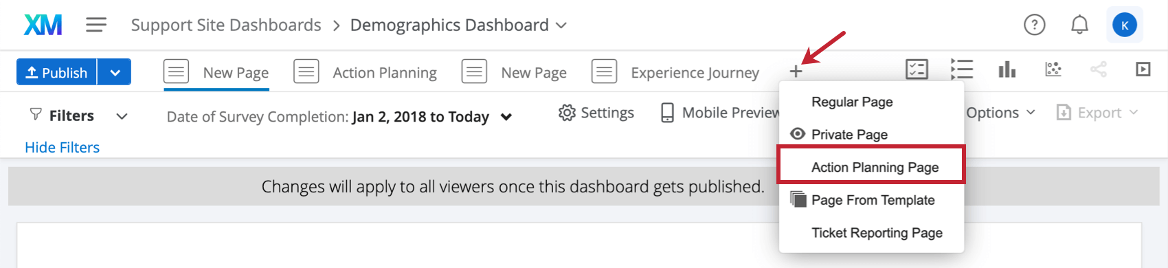 Schaltfläche Neue Seite oben links im Dashboard. Eine der Optionen ist Aktionsplanseite.