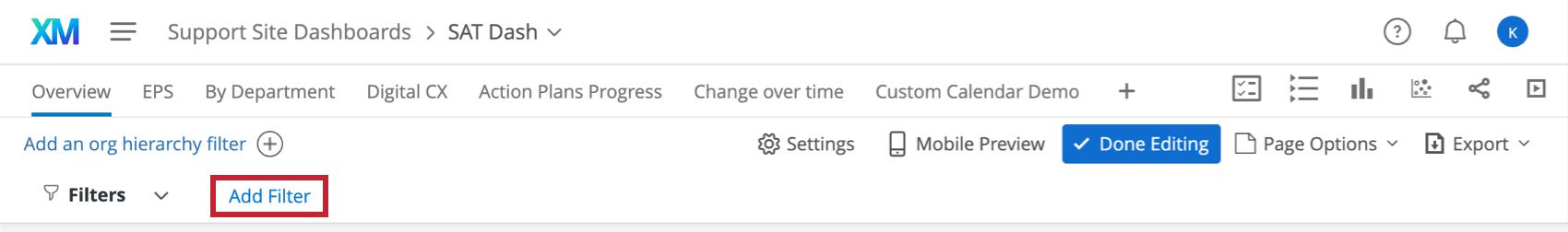 Add Filter button