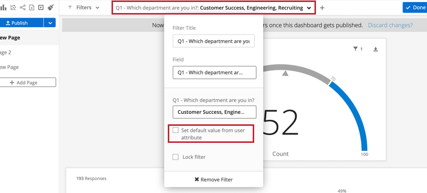 a dashboard filter is being edited and the set default value from user attributes option is selected