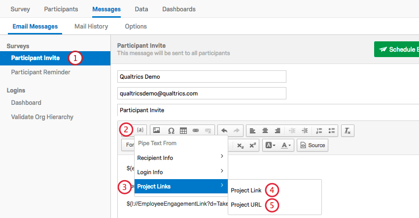 clicking the piped text menu, project links, and then the desired option
