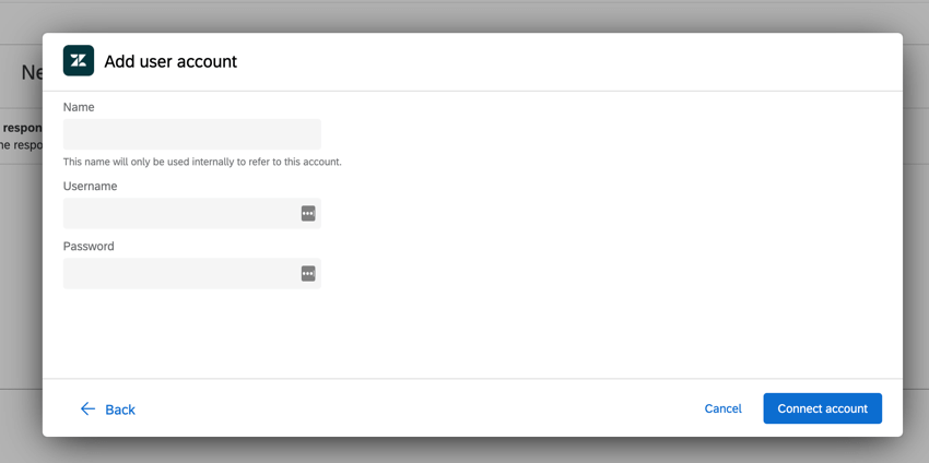 the add account screen for adding a new zendesk account