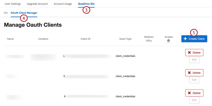 Navigieren Sie zum Oauth-Bereich von qualtrics ids und klicken Sie auf Kunden erstellen
