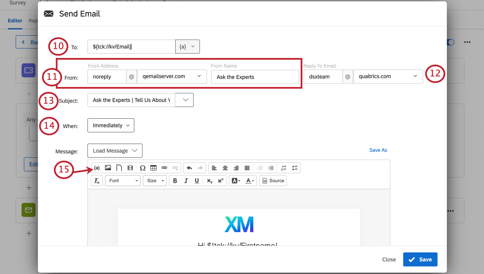 Image of an email task being configured
