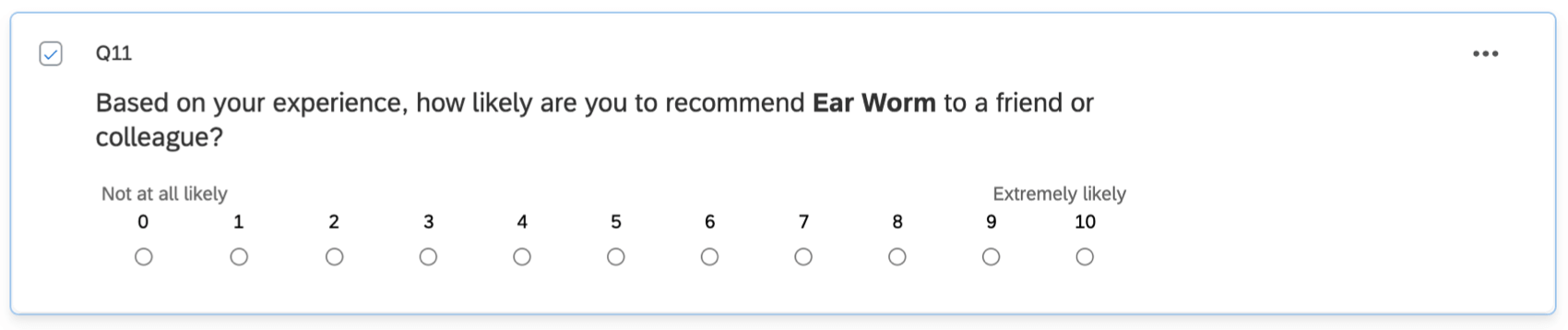 An NPS question, rating likelihood to recommend from 0 to 10