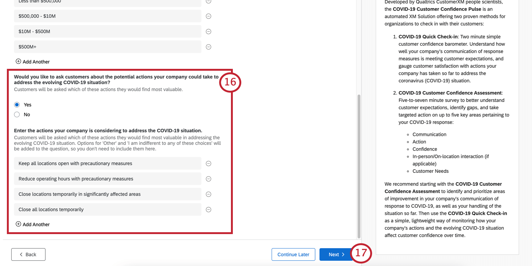 Image of the question described, showing a yes/no question followed by a place where you can enter labels of choice