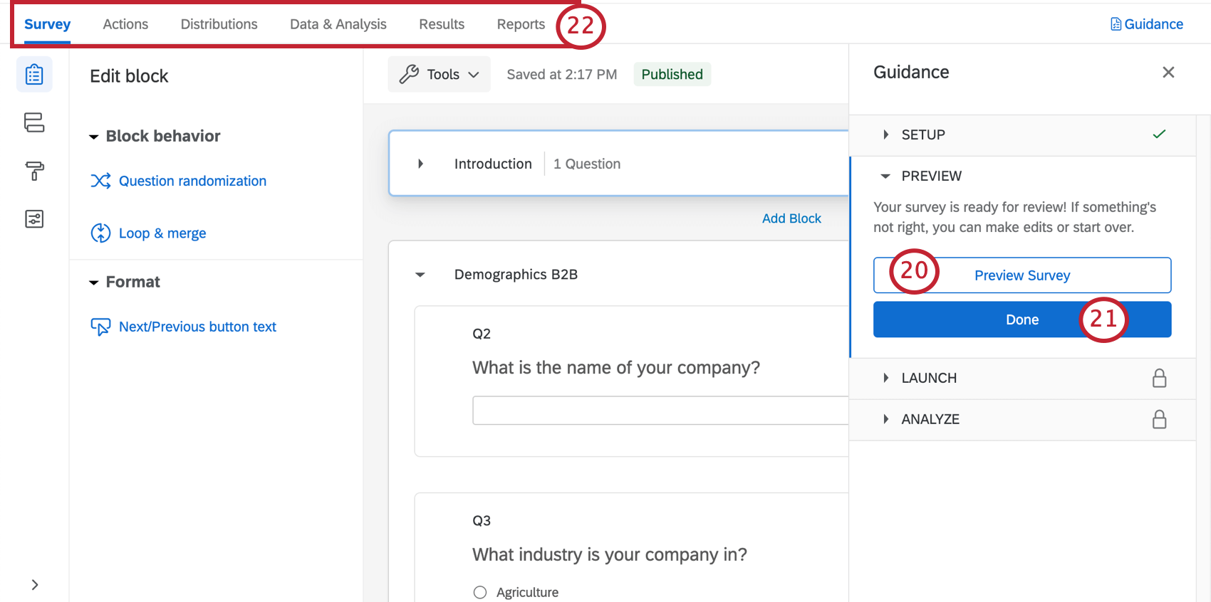 Survey builder open with a guidance sidebar to the right that takes you through key steps