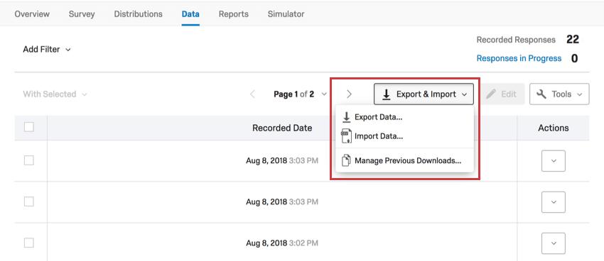 Export options on data tab