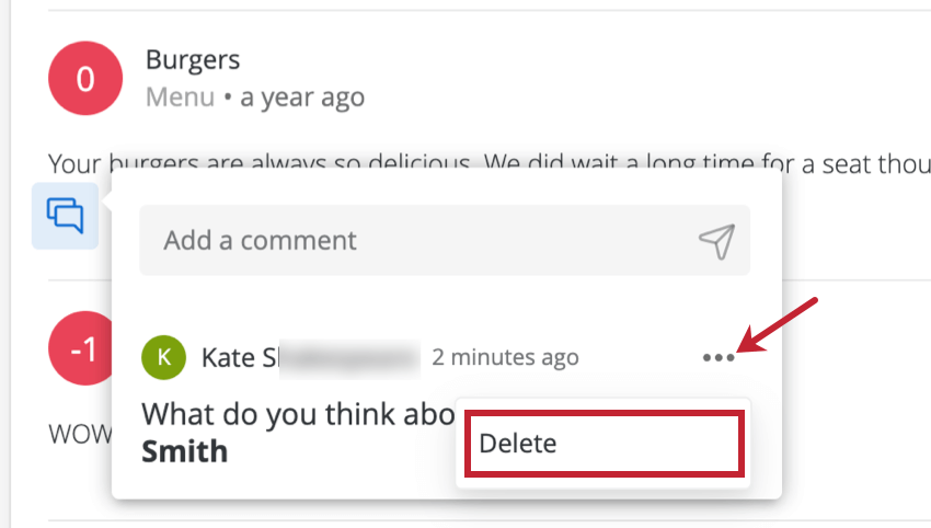 Picture of a comment expanded, three dots dropdown expands to show a delete button