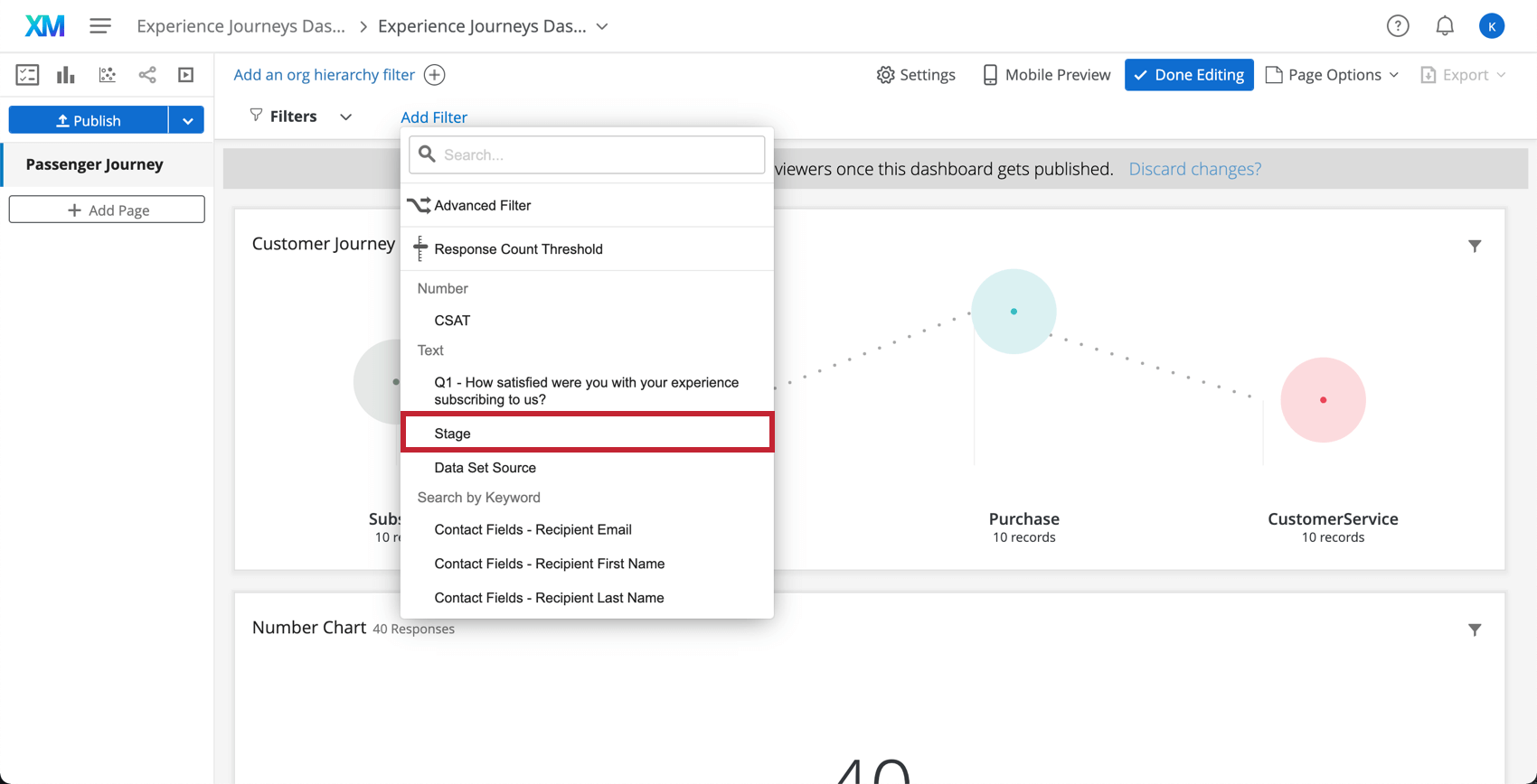 Selecting to filter based on a stage from the dashboard page filters